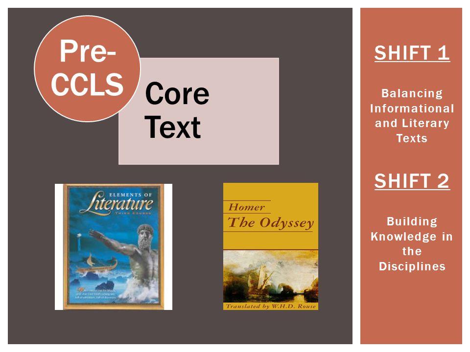 Pre-CCLS Core Text SHIFT 1 SHIFT 2
