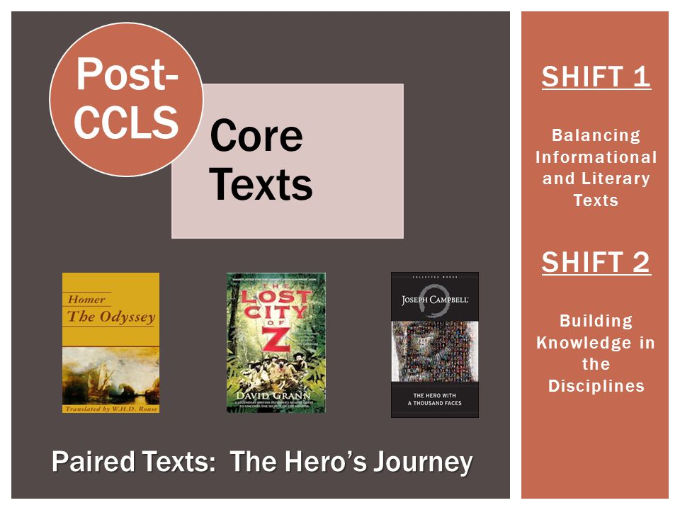 Post-CCLS Core Texts SHIFT 1 SHIFT 2 Paired Texts: The Hero's Journey
