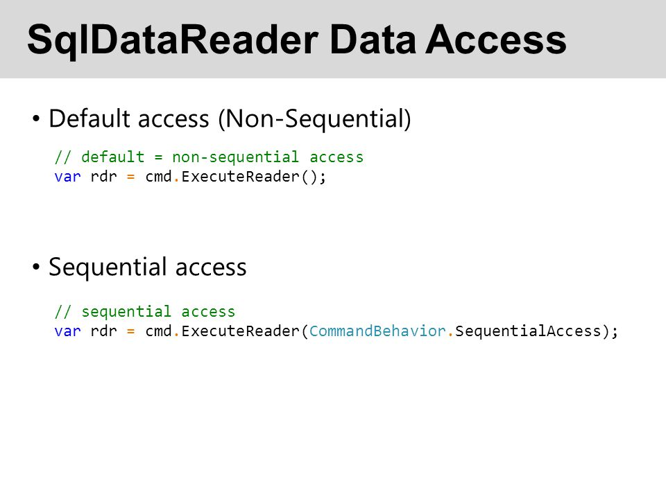 SqlDataReader Data Access