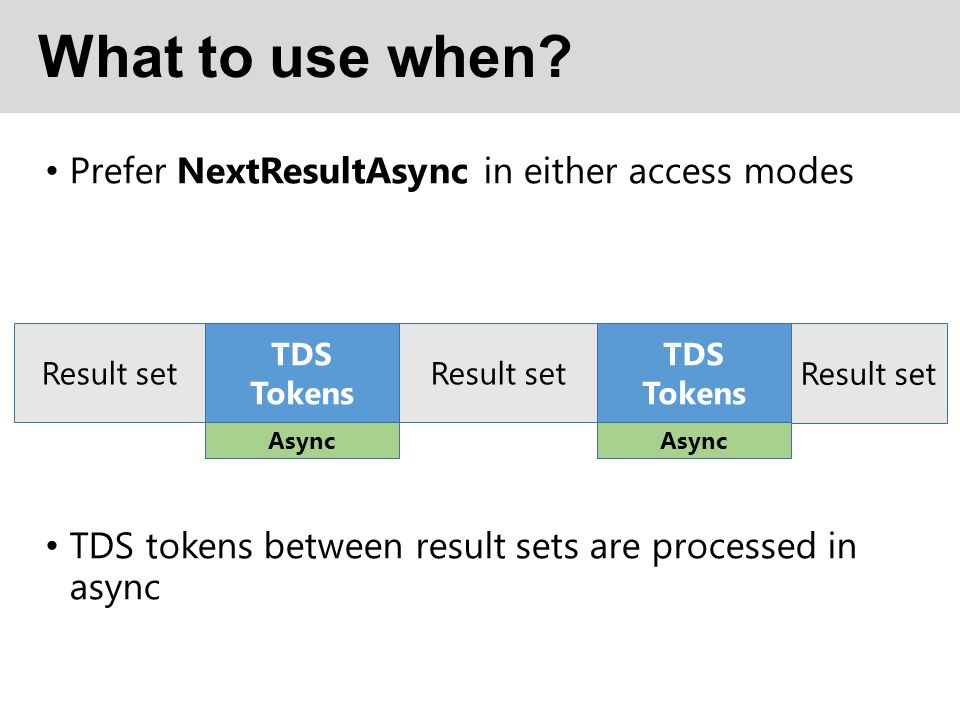 What to use when Prefer NextResultAsync in either access modes