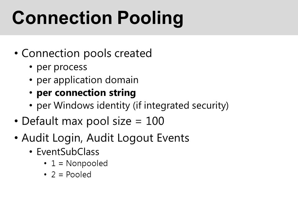 Connection Pooling Connection pools created