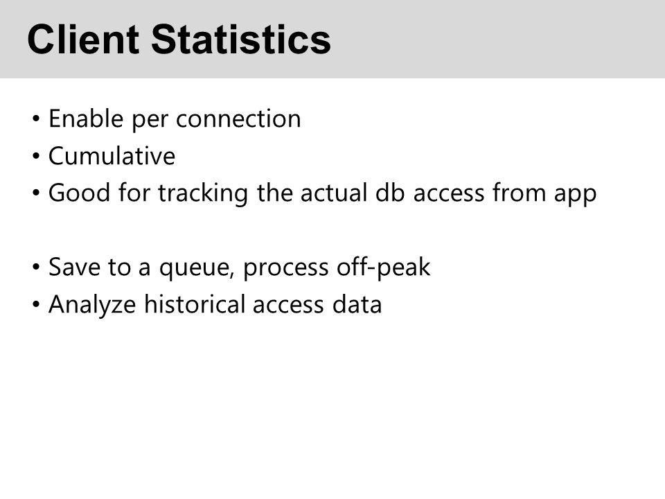 Client Statistics Enable per connection Cumulative