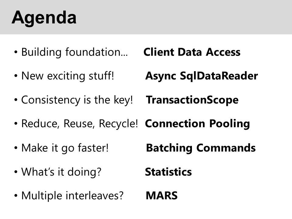 Agenda Building foundation... Client Data Access