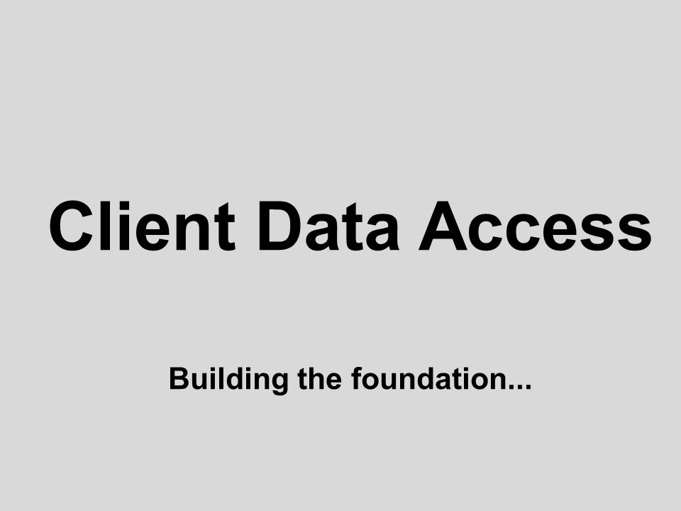 Client Data Access Building the foundation...