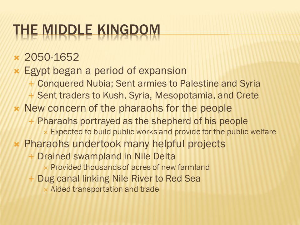The Middle Kingdom 2050-1652 Egypt began a period of expansion