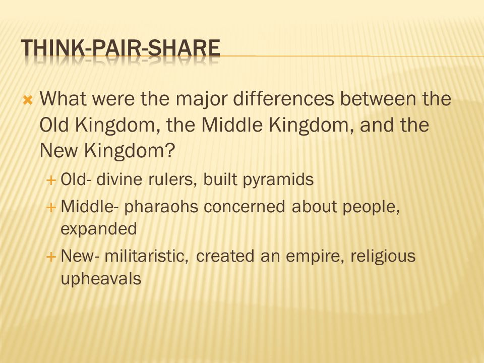 Think-Pair-Share What were the major differences between the Old Kingdom, the Middle Kingdom, and the New Kingdom