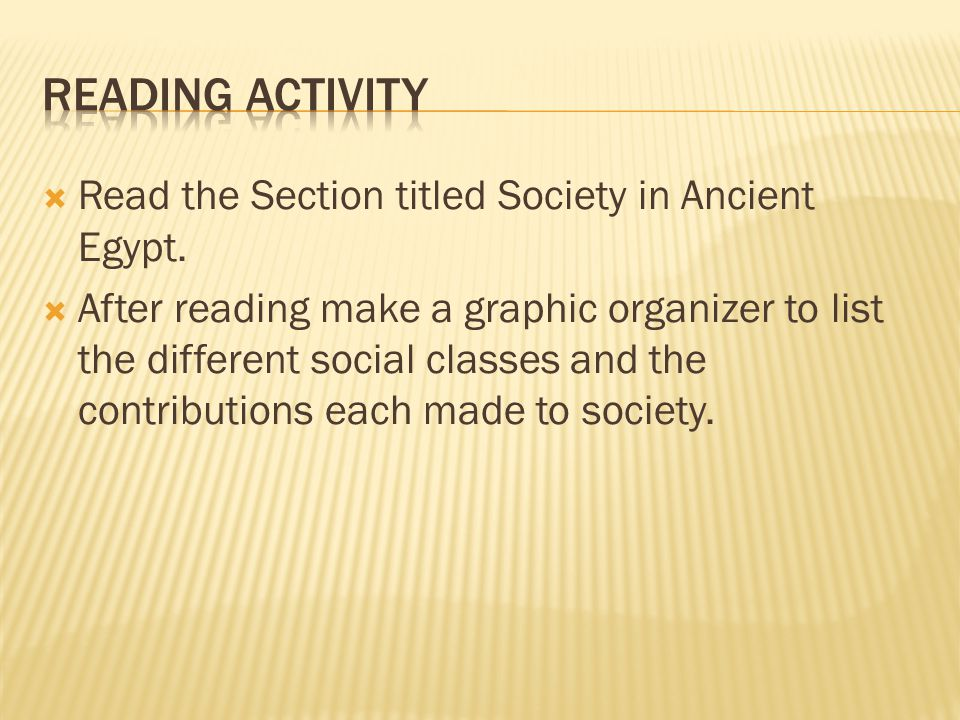 Reading Activity Read the Section titled Society in Ancient Egypt.