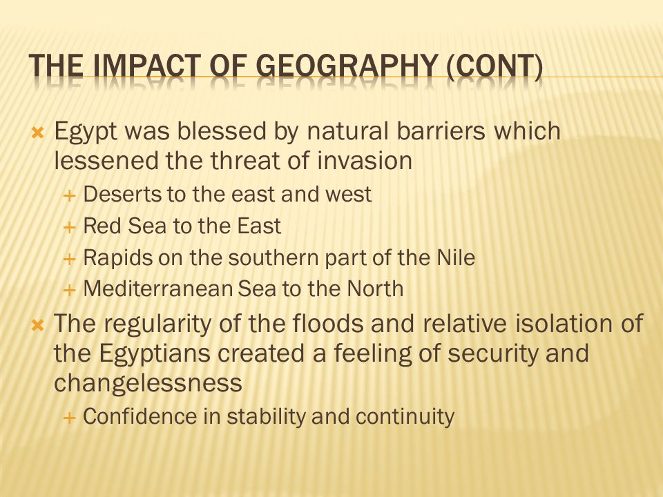 The Impact of Geography (Cont)
