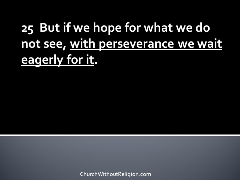 25 But if we hope for what we do not see, with perseverance we wait eagerly for it.