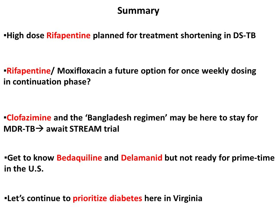 Summary ▪High dose Rifapentine planned for treatment shortening in DS-TB.