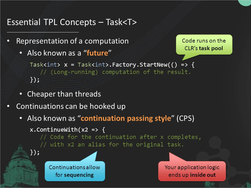Essential TPL Concepts – Task<T>