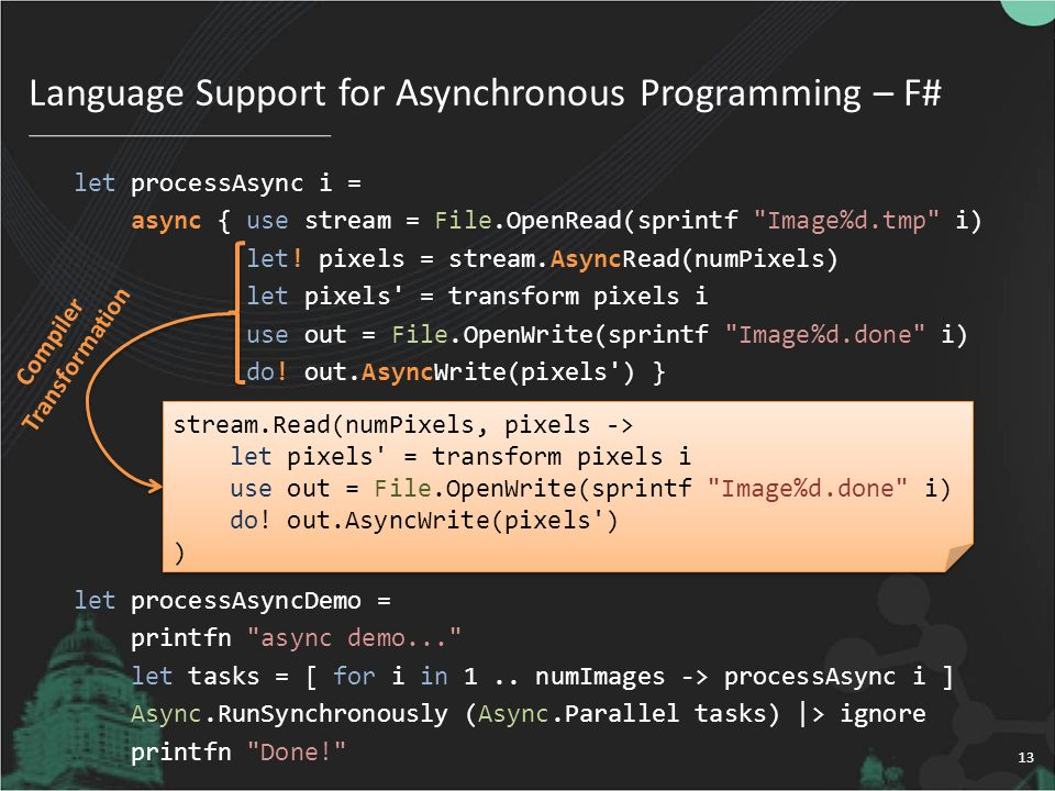 Language Support for Asynchronous Programming – F#
