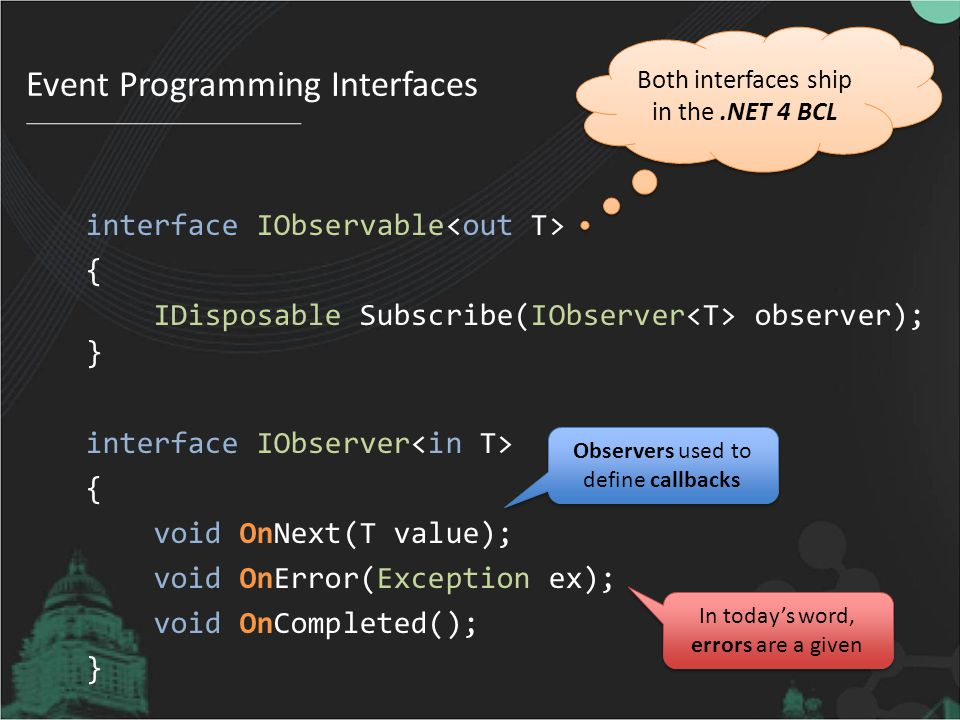 Event Programming Interfaces