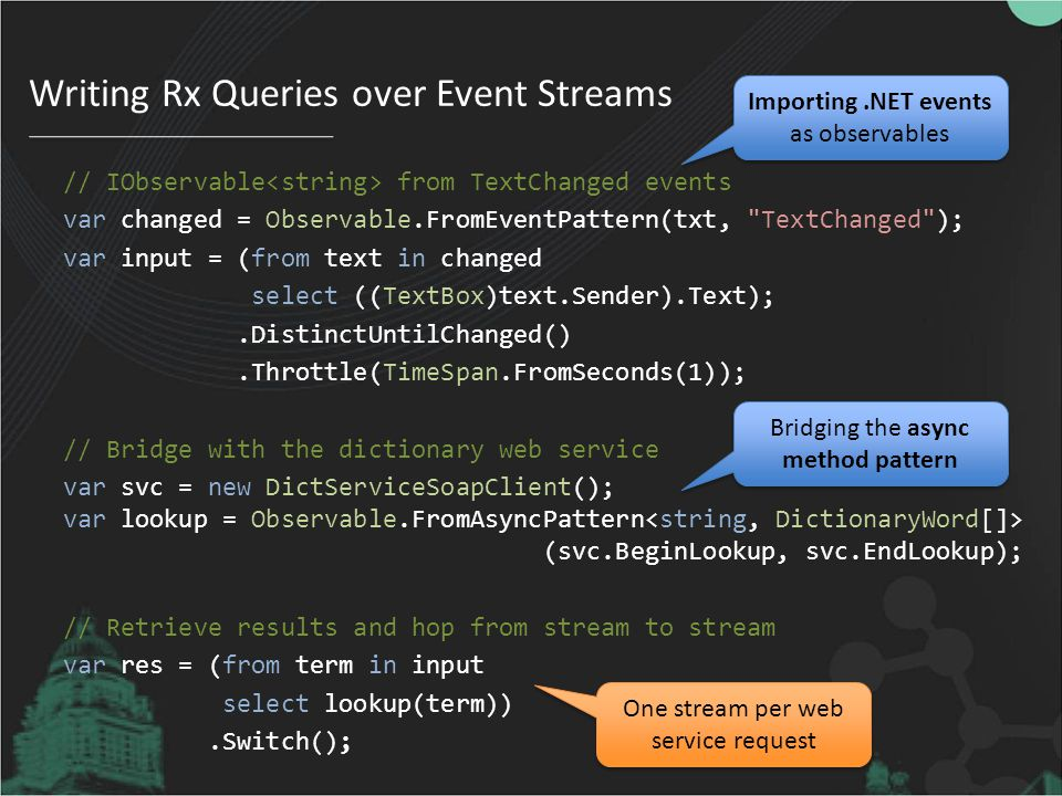 Writing Rx Queries over Event Streams