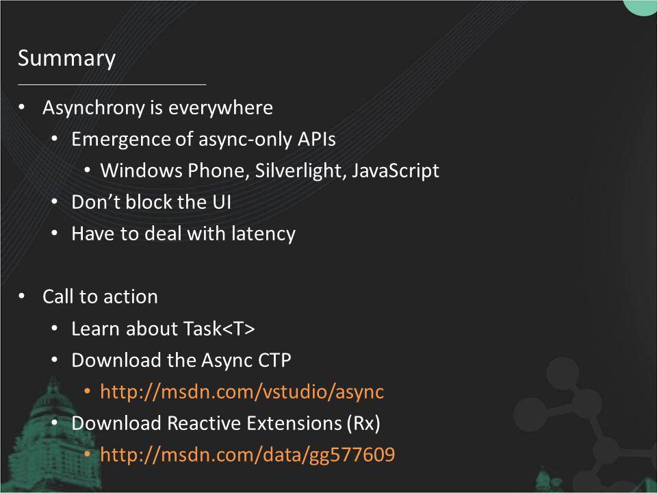 Summary Asynchrony is everywhere Emergence of async-only APIs