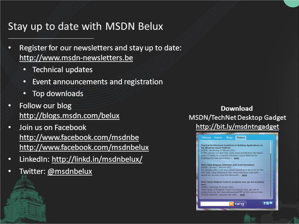Stay up to date with MSDN Belux