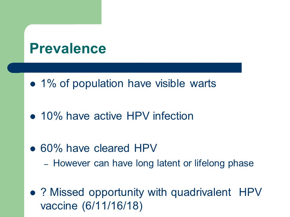 Prevalence 1% of population have visible warts