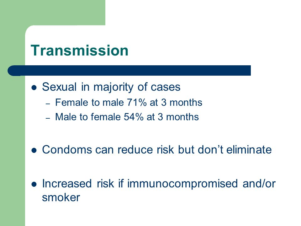 Transmission Sexual in majority of cases