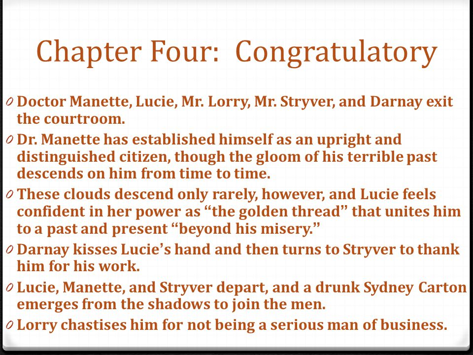Chapter Four: Congratulatory