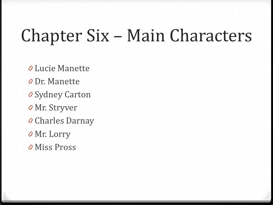 Chapter Six – Main Characters