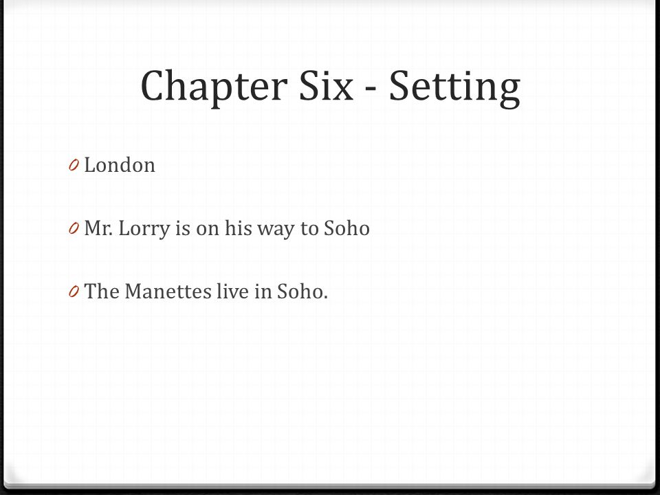 Chapter Six - Setting London Mr. Lorry is on his way to Soho