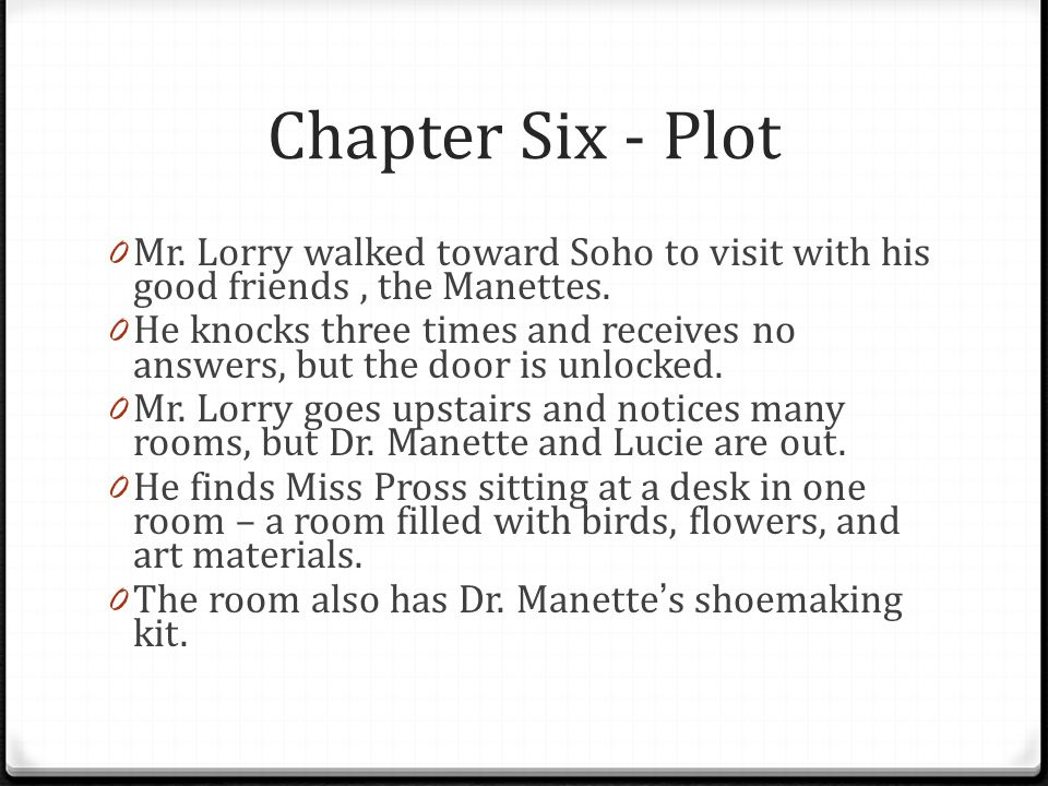 Chapter Six - Plot Mr. Lorry walked toward Soho to visit with his good friends , the Manettes.