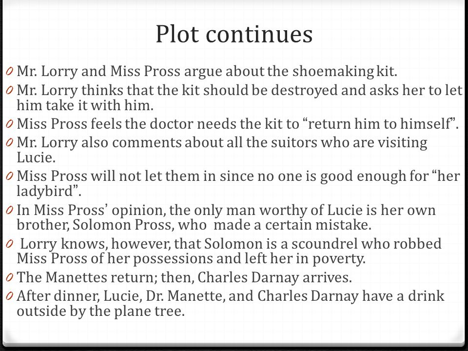 Plot continues Mr. Lorry and Miss Pross argue about the shoemaking kit.