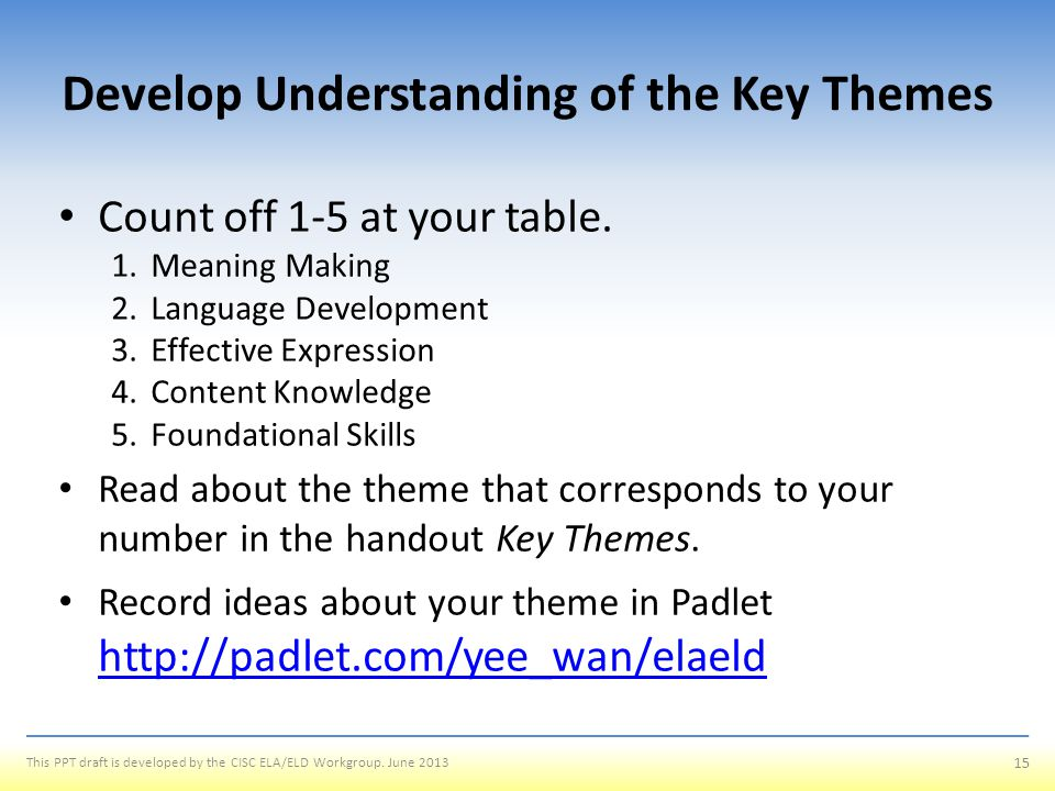 Develop Understanding of the Key Themes