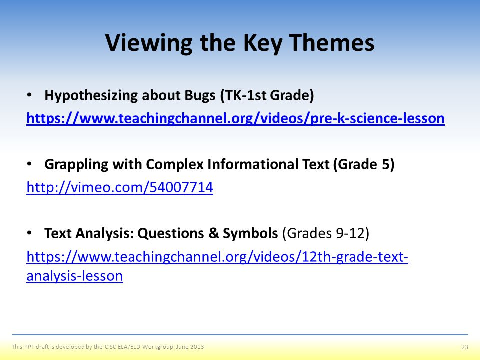 Viewing the Key Themes Hypothesizing about Bugs (TK-1st Grade)