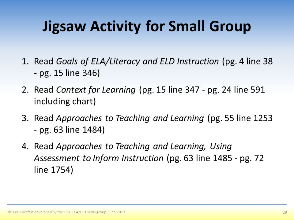 Jigsaw Activity for Small Group