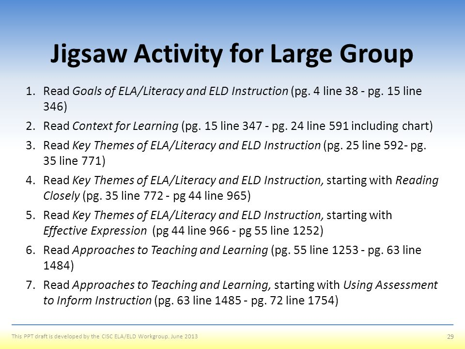 Jigsaw Activity for Large Group