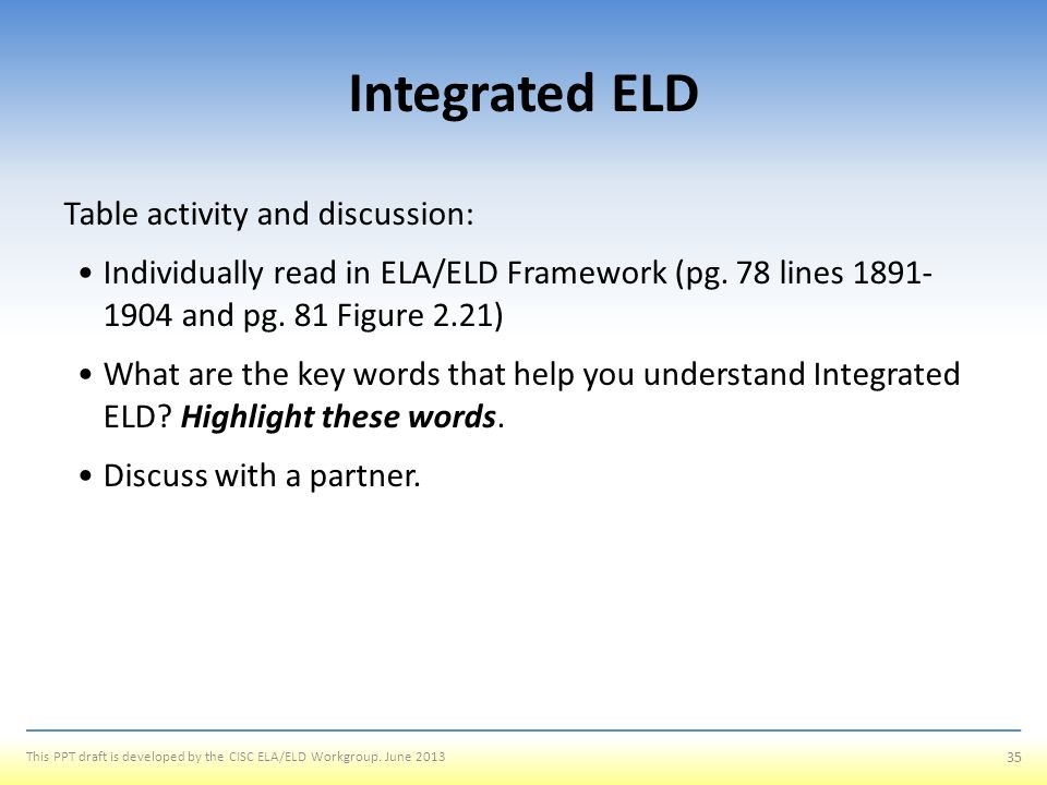 Integrated ELD Table activity and discussion: