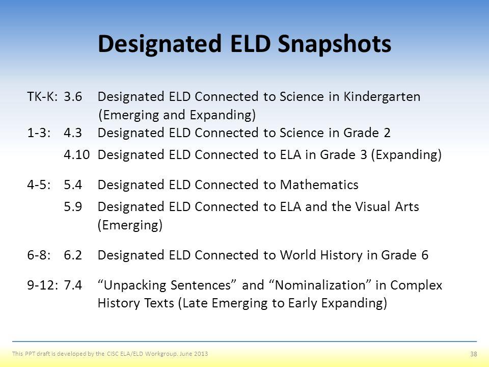 Designated ELD Snapshots