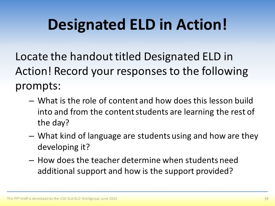 Designated ELD in Action!