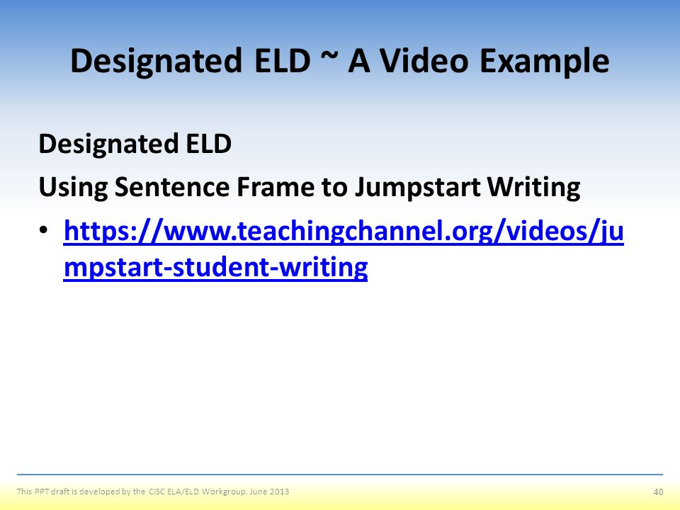 Designated ELD ~ A Video Example