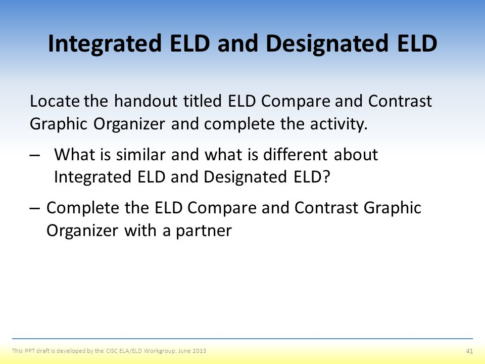 Integrated ELD and Designated ELD