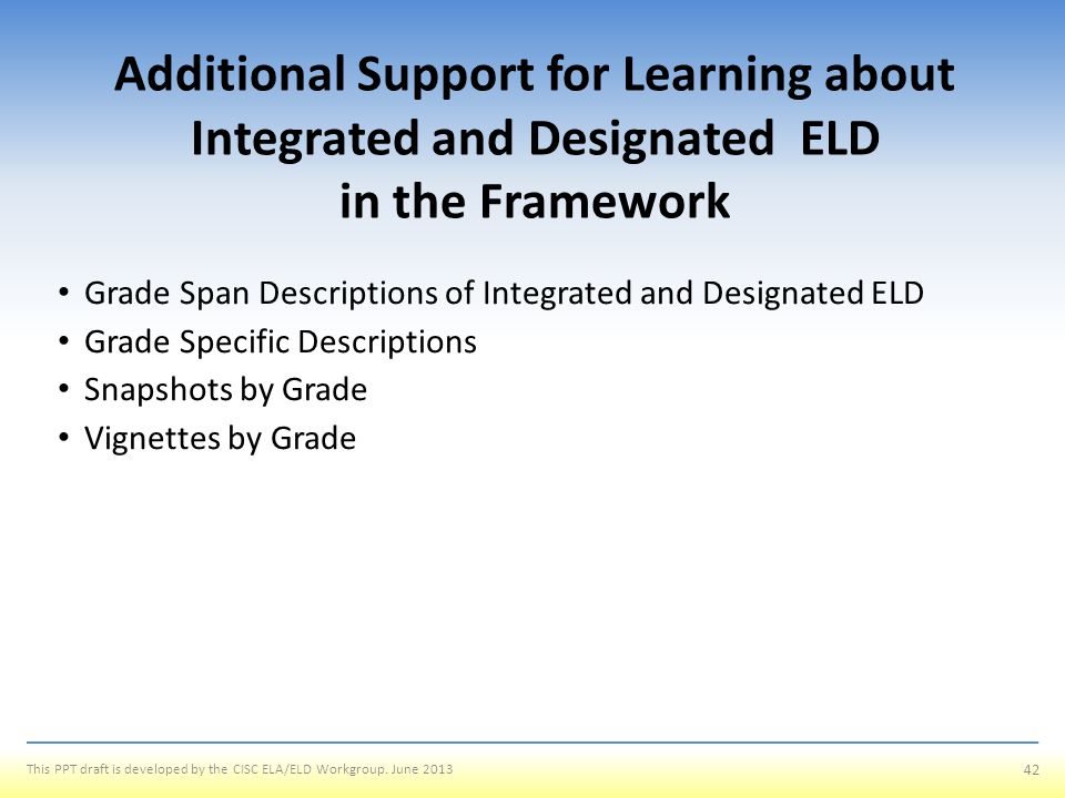 Additional Support for Learning about Integrated and Designated ELD in the Framework
