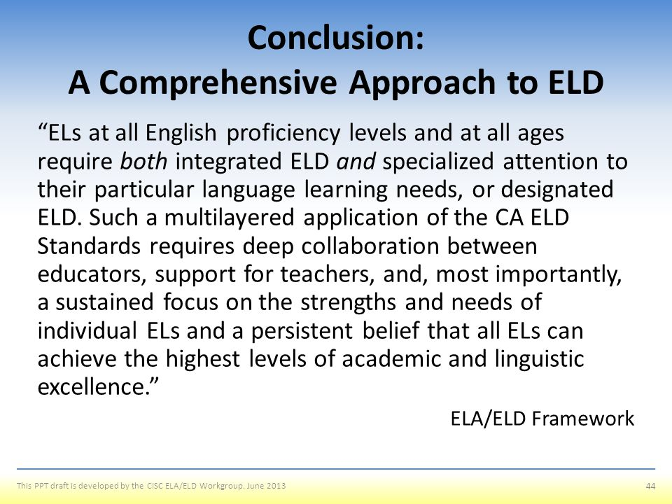 Conclusion: A Comprehensive Approach to ELD