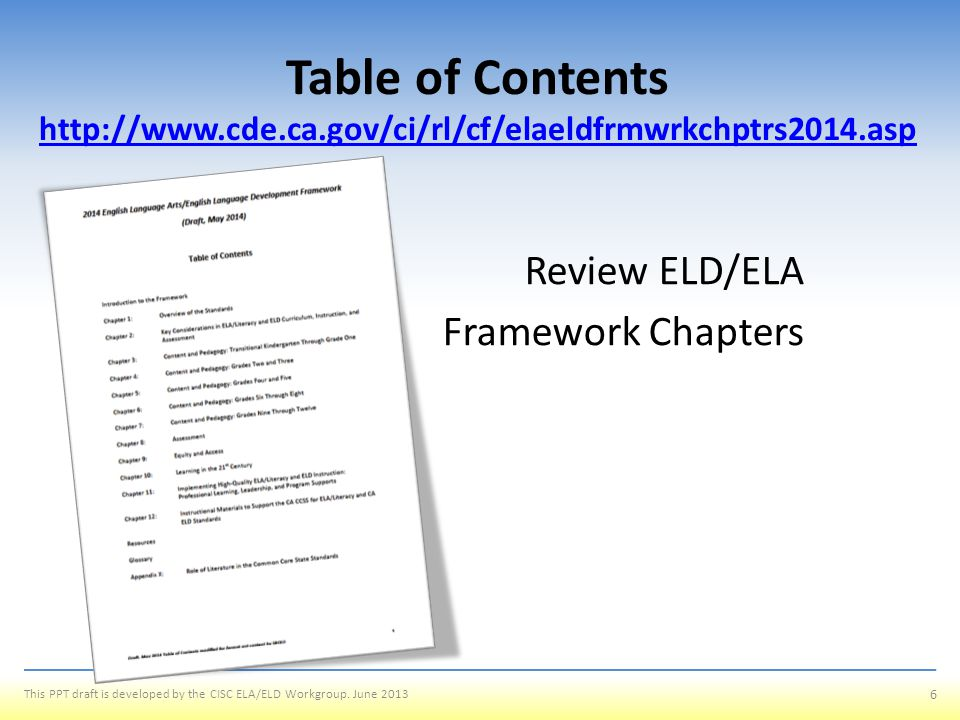Table of Contents http://www. cde. ca
