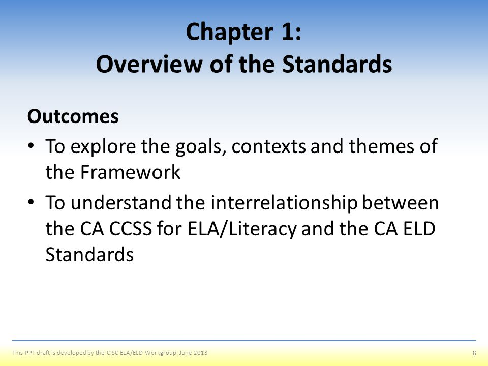 Chapter 1: Overview of the Standards