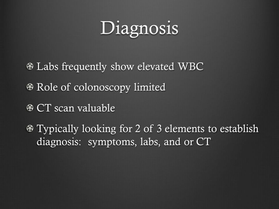Diagnosis Labs frequently show elevated WBC