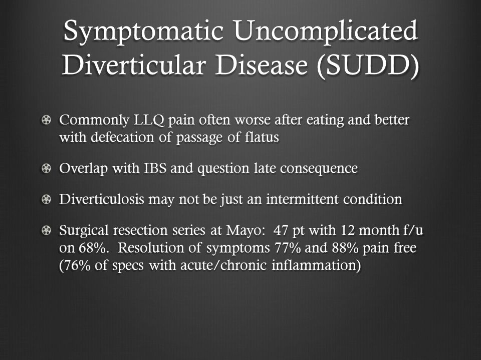 Symptomatic Uncomplicated Diverticular Disease (SUDD)