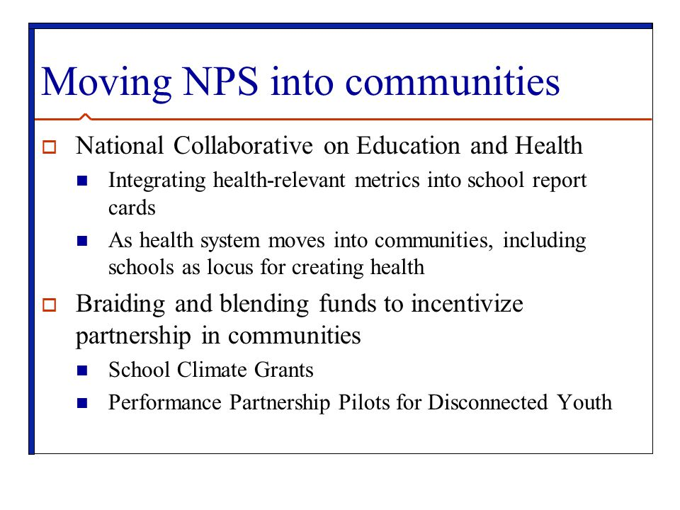 Moving NPS into communities
