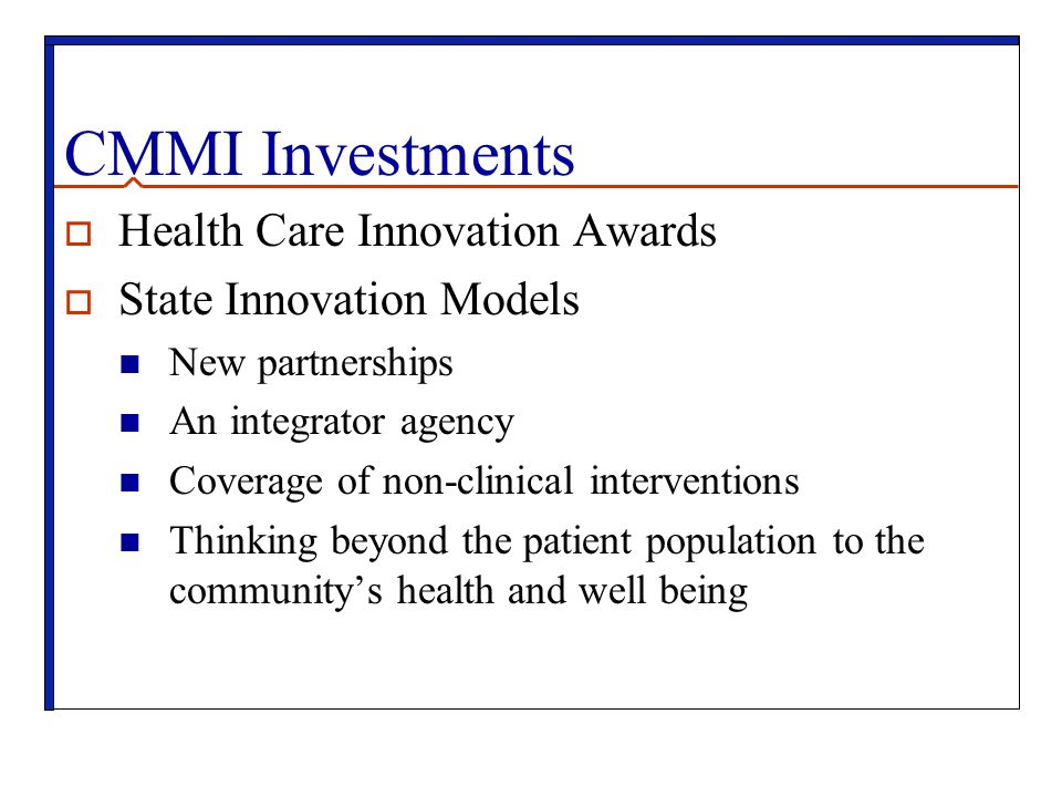 CMMI Investments Health Care Innovation Awards State Innovation Models