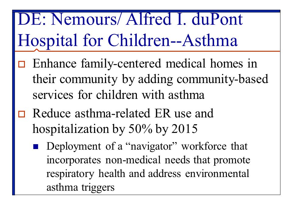 DE: Nemours/ Alfred I. duPont Hospital for Children--Asthma