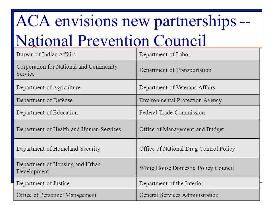 ACA envisions new partnerships -- National Prevention Council