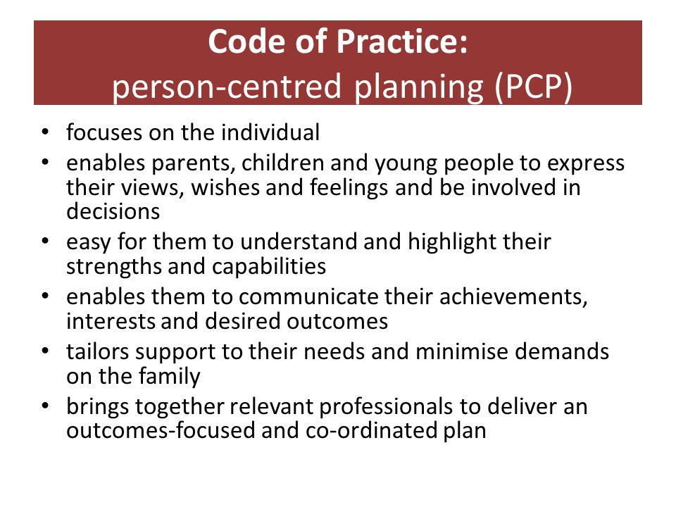 Code of Practice: person-centred planning (PCP)