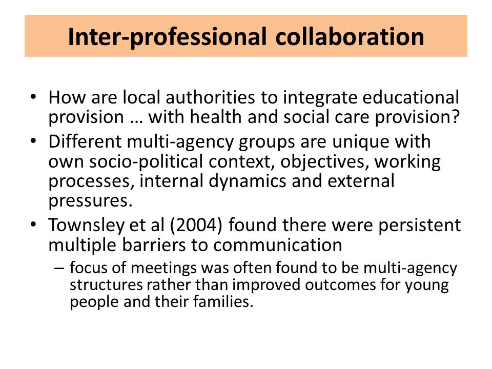 Inter-professional collaboration