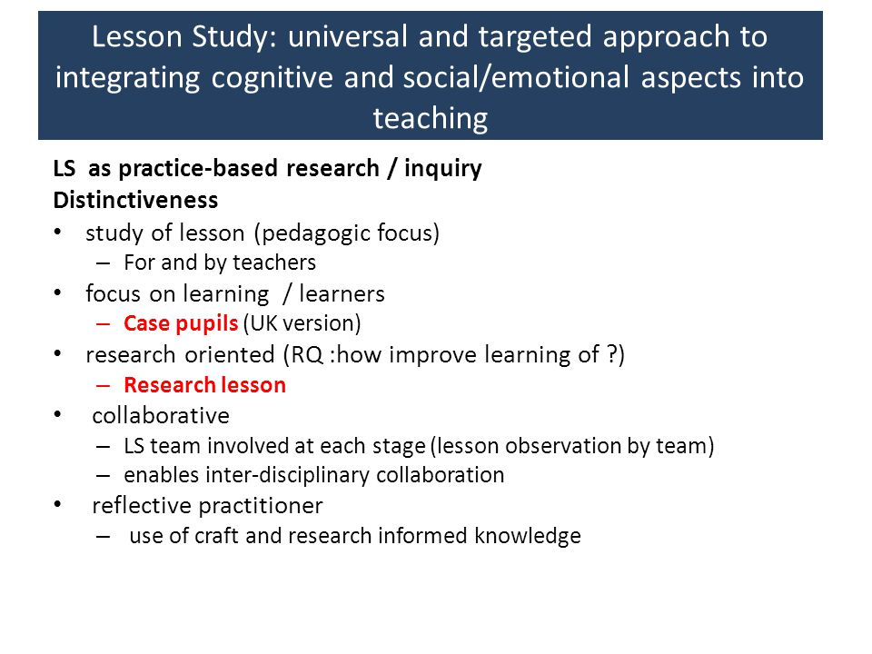 Lesson Study: universal and targeted approach to integrating cognitive and social/emotional aspects into teaching