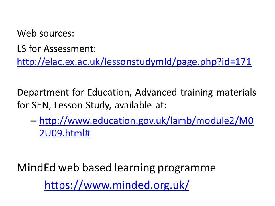 MindEd web based learning programme https://www.minded.org.uk/